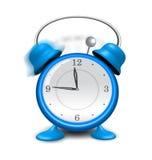 Blue alarm clock close up,  on white background Stock Photo
