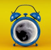 Blue alarm clock with coffee concept  on yellow background Royalty Free Stock Images