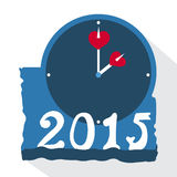 Blue alarm clock with hearts. And numbers 2015 royalty free illustration