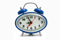 Blue alarm clock isolated Royalty Free Stock Images