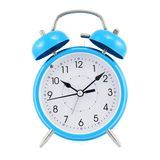 Blue alarm clock isolated Stock Photo