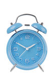 Blue alarm clock with the hands at 10 and 2 isolated on a white background Royalty Free Stock Photos