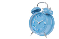 Blue alarm clock with the hands at 10 and 2 isolated on a white background Royalty Free Stock Image