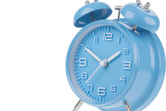 Blue alarm clock with the hands at 10 and 2 isolated on a white background Stock Photos