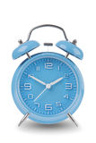 Blue alarm clock with the hands at 10 and 2 isolated on a white background Stock Images