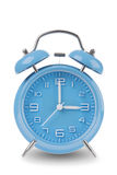 Blue alarm clock with the hands at 3 am or pm isolated on a white background Stock Photo