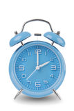 Blue alarm clock with the hands at 2 am or pm isolated on a white background Stock Photos
