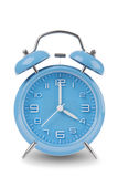 Blue alarm clock with the hands at 4 am or pm isolated on a white background Stock Images