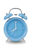 Blue alarm clock with the hands at 8 am or pm isolated on a white background Stock Photo