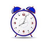 Blue alarm clock, on white background. Stock Photo