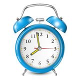 Blue Alarm Clock  On White. Stock Images