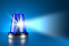Blue alarm police light on toned background. 3d Stock Photos