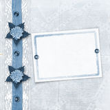 Blue album for photos with lace Royalty Free Stock Photo