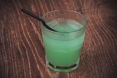 Blue alcohol cocktail in glass Royalty Free Stock Photo