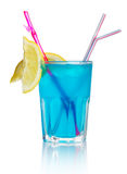 Blue alcohol cocktail with lemon slice isolated Royalty Free Stock Image