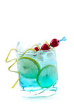 Blue alcohol cocktail with lemon slices Royalty Free Stock Photo