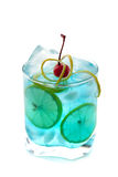 Blue alcohol cocktail with lemon slices Stock Photo
