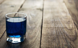 Blue alcohol shot drink Royalty Free Stock Photo