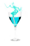 Blue Alcohol with Smoke Stock Photos