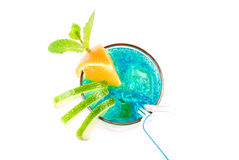 Blue alcoholic cocktail Stock Photos