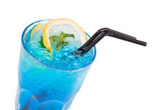 Blue alcoholic cocktail Royalty Free Stock Images