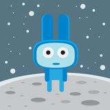 Blue alien on the moon character.  Royalty Free Stock Images