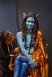 Blue Alien at 2018 Photoplus Expo. A model poses at the 2018 Photoplus Expo at the Javits Center in New York City on October 25, 2018. The annual 3-day gathering stock photos