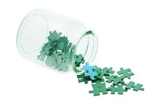 Blue among all green jigsaw puzzles Royalty Free Stock Photo