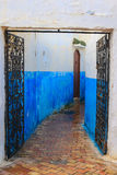 Blue alleyway in Morocco Royalty Free Stock Image