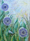 Blue allium flowers and dragonfly. Spring blooming meadow plants Stock Photos