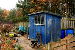 Blue allotment shed. Royalty Free Stock Images