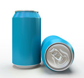 Blue alluminium cans on white background Stock Photography