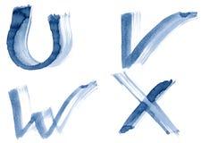 Blue alphabet. Grunge handwritten ink alphabet, isolated on white background. Letters UVWX stock images