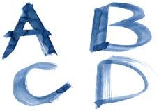 Blue alphabet. Grunge handwritten ink alphabet, isolated on white background. Letters ABCD stock illustration