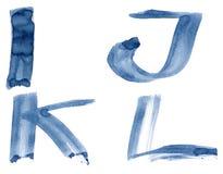 Blue alphabet. Grunge handwritten ink alphabet, isolated on white background. Letters IJKL royalty free stock photos
