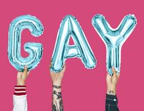 Blue alphabet balloons forming the word gay Stock Photo