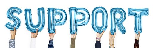 Blue alphabet balloons forming the word support royalty free stock photos