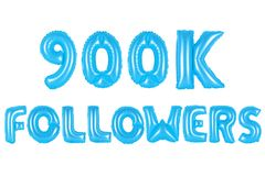 Nine hundred thousand followers, blue color Royalty Free Stock Photos