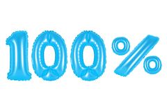 100 one hundred percent, blue color. Blue alphabet balloons, 100 one hundred percent, blue number and letter balloon Royalty Free Stock Photography