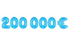 Two hundred thousand euros, blue color. Blue alphabet balloons, two hundred thousand euros, blue number and letter balloon Royalty Free Stock Photo