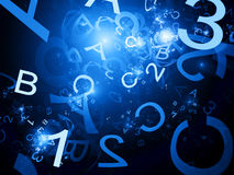 Blue alphabet and one two three numbers Stock Image