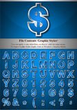 Blue Alphabet with Silver Emboss Stroke Stock Images