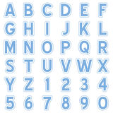 Blue Alphabet Stickers Icons Royalty Free Stock Image