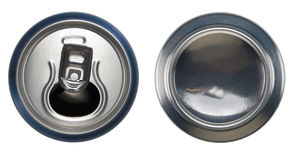 Blue aluminium open can and bottom can. Aluminium open can and bottom can Stock Photo