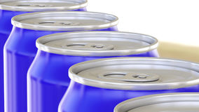 Blue aluminum cans on factory conveyor. Soft drinks or beer industrial production line. Ecologic recycling packaging. 3D. Generic green aluminum cans. Soft stock photo