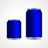 Blue aluminum cans Royalty Free Stock Images