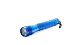 Blue aluminum flashlight isolated Stock Image