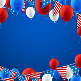 Blue American background with balloons. Blue USA Independence Day background with flags and balloons. Vector illustration Stock Image
