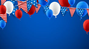 Blue American background with balloons. Blue USA Independence Day background with flags and balloons. Vector illustration Royalty Free Stock Photography