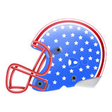 Blue American Football Helmet With Stars Side View. American Flag Isolated On A White Background. Vector Illustration. American Football Equipment Royalty Free Stock Images